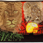 Custom Embroidered Patch of Lions and Sunset