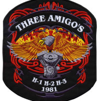 Description for Custom Embroidered Motorcycle Badge for Three Amigos