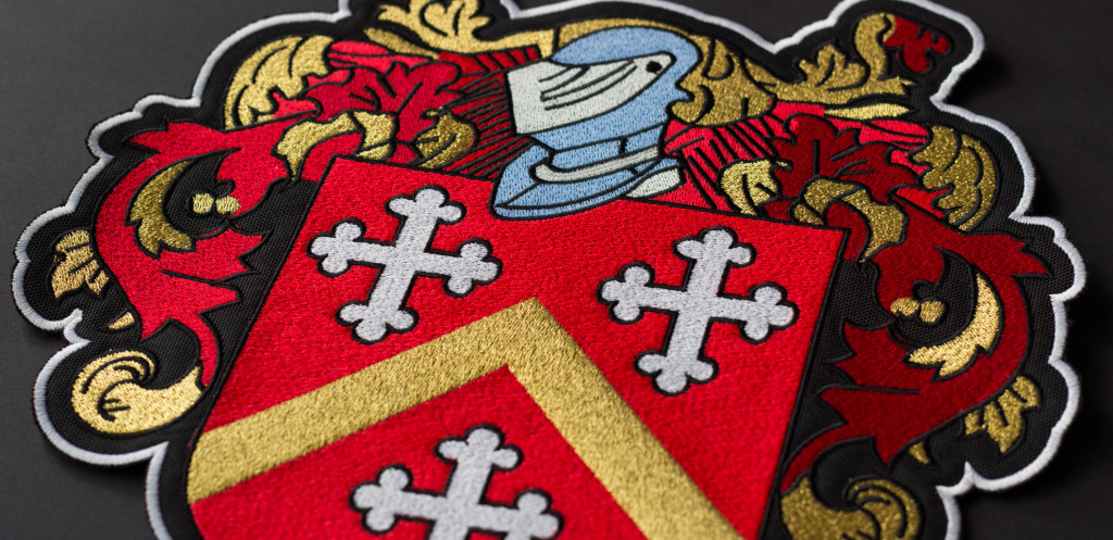 embroidered family crest