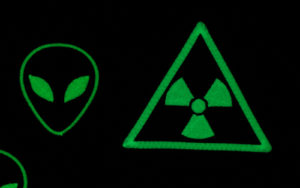 Alien and Radioactive danger glow in dark embroidered patches