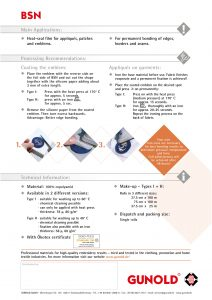 Specification of Gunold BSN Permanent Heat-Seal/Iron on Film